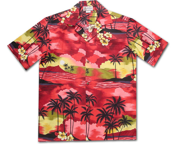 Diamond Head Sunset Red Hawaiian Shirt