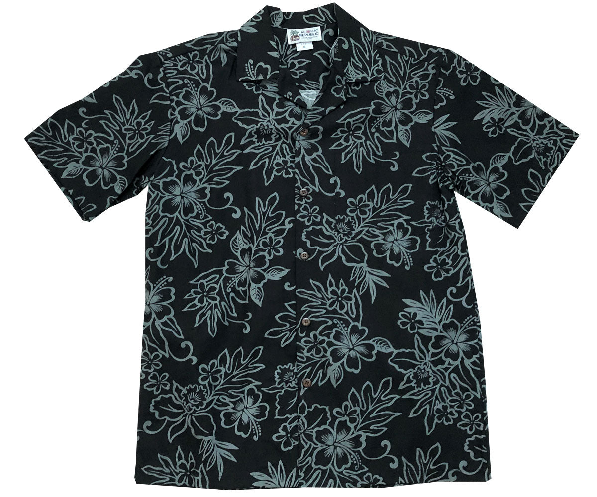 Island Stealth Black Hawaiian Shirt
