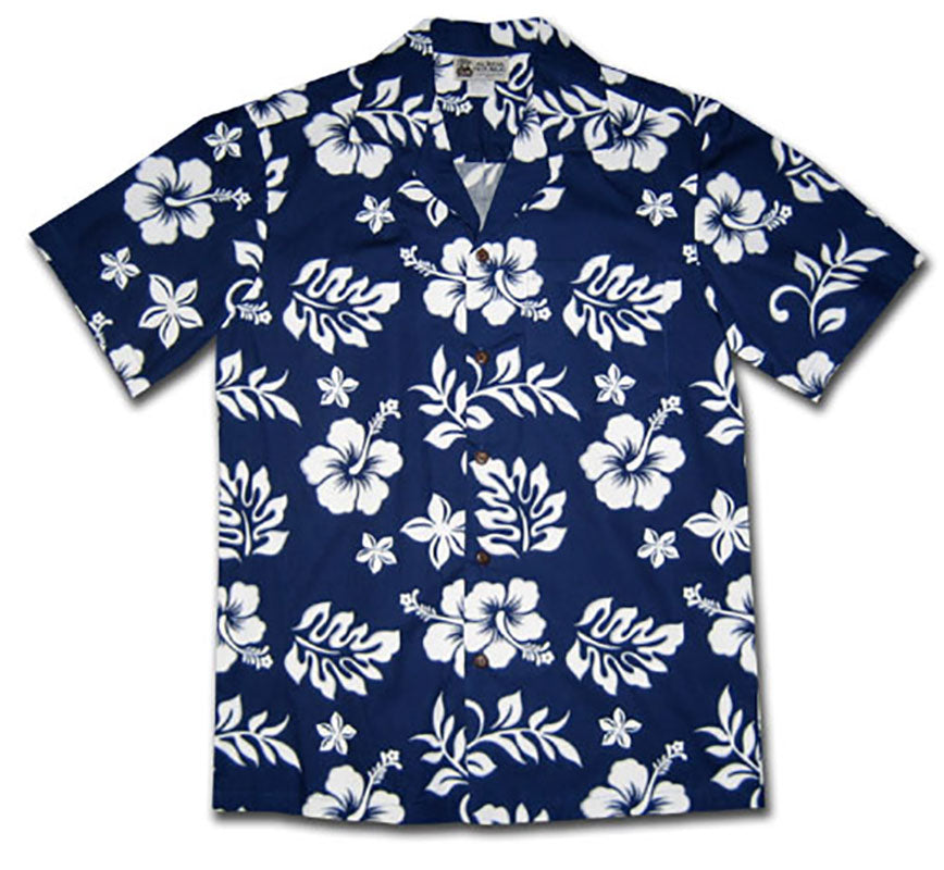 Party Flower Navy Hawaiian Shirt