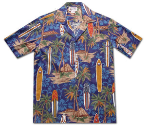 Surfboard Psyche Navy Hawaiian Shirt