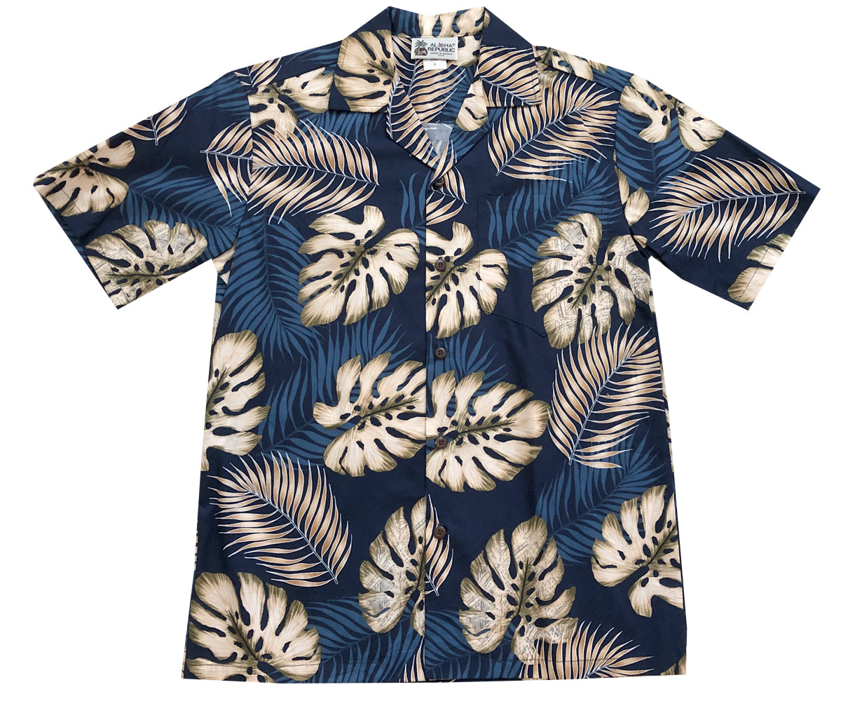 Ferns and Monstera Navy Hawaiian Shirt
