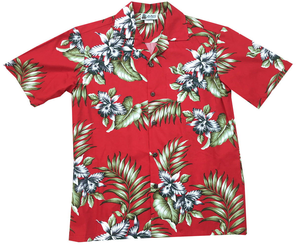 Orchid Trio Red Hawaiian Shirt