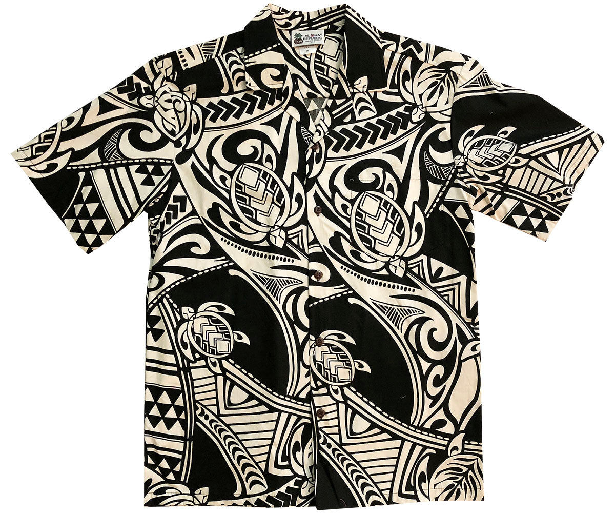 Ancient Turtles Black Hawaiian Shirt