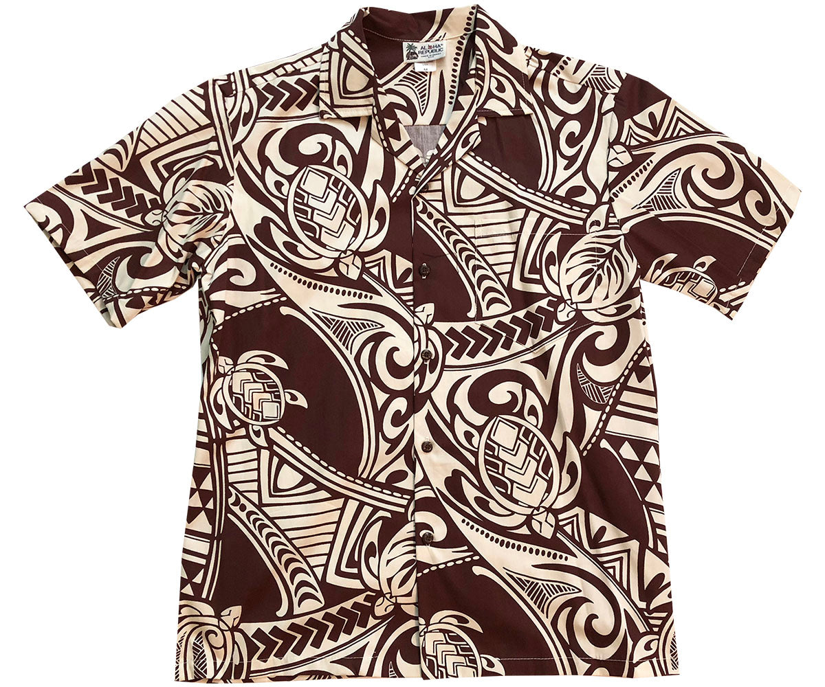 Ancient Turtles Brown Hawaiian Shirt