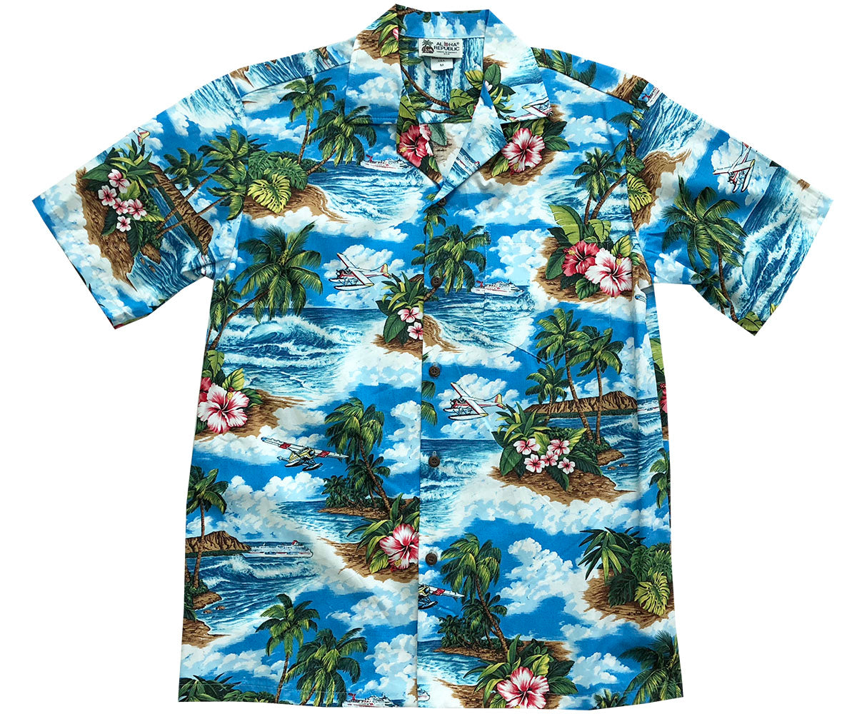 Water Landing Blue Hawaiian Shirt