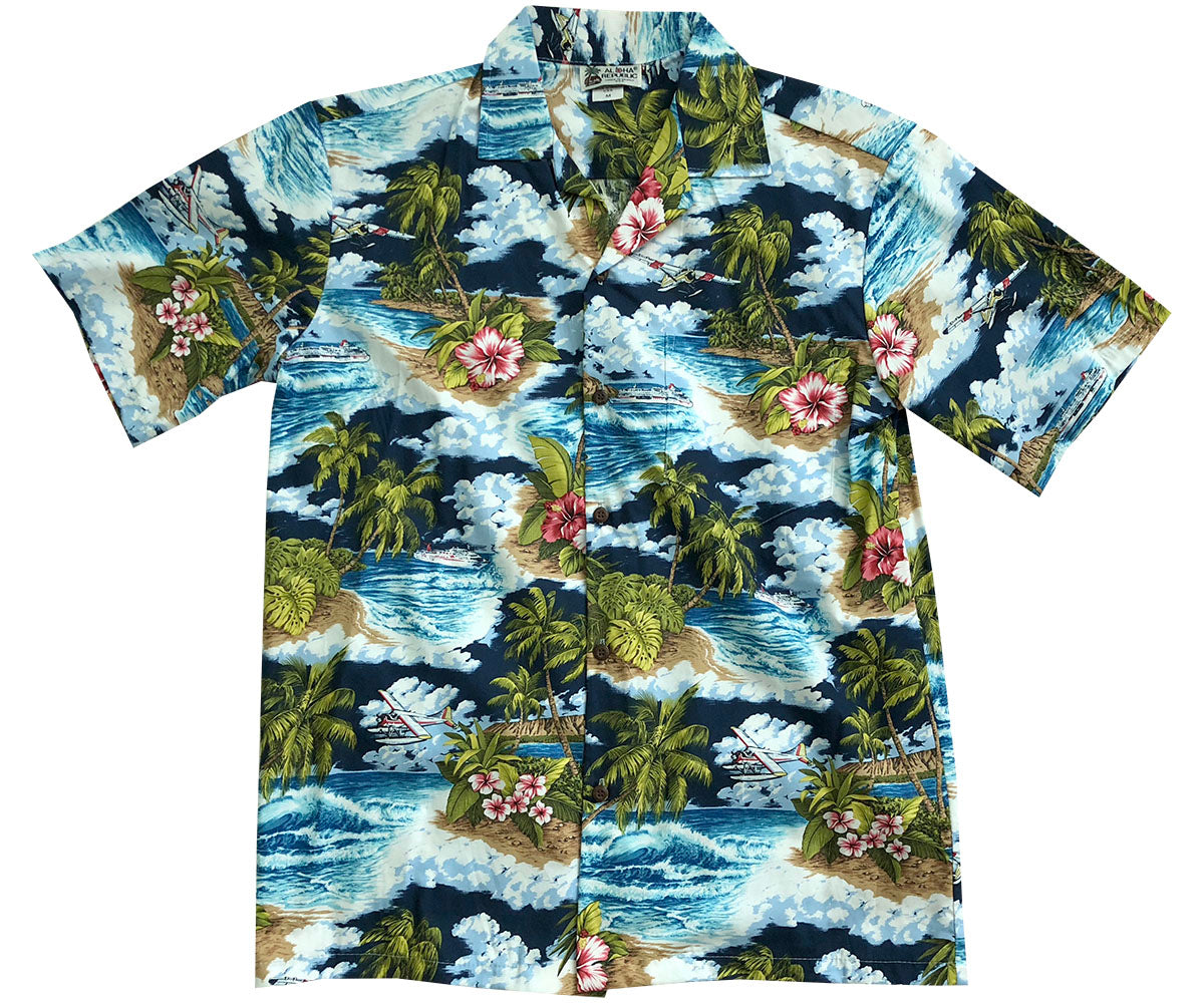 Water Landing Navy Hawaiian Shirt