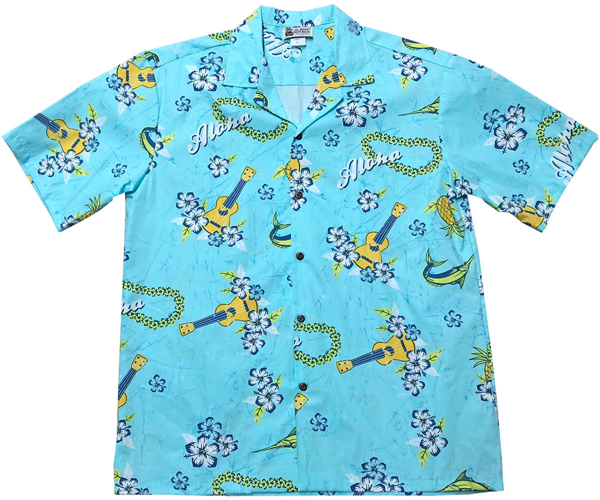 Ukulele Blue Hawaiian Shirt