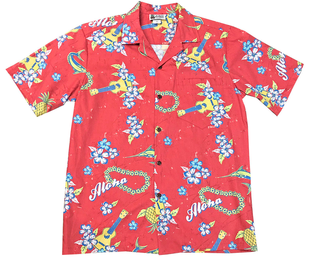 Ukulele Red Hawaiian Shirt