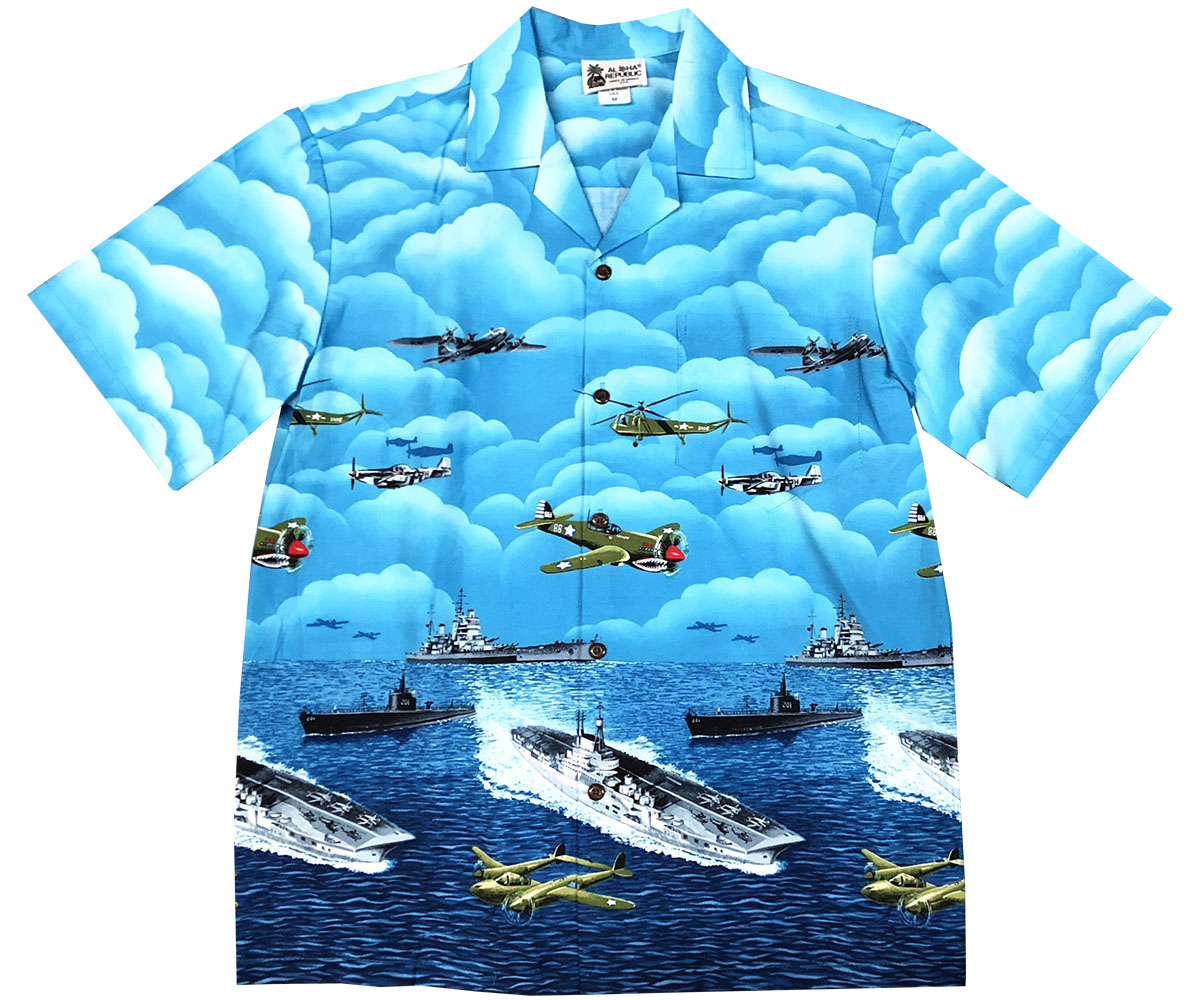 Vintage Ops Blue Hawaiian Shirt