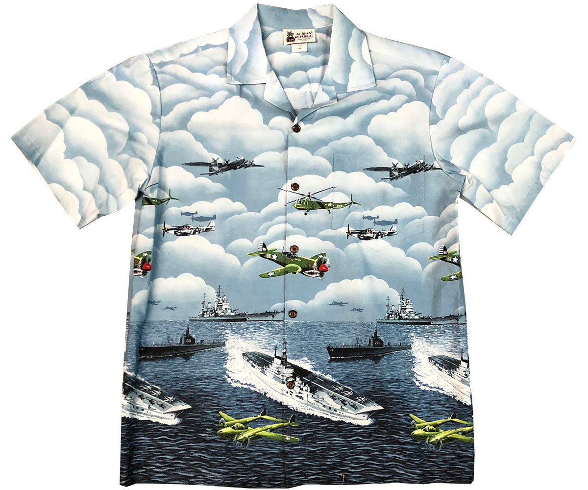 Vintage Ops Gray Hawaiian Shirt