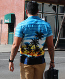Burning Sky Blue Hawaiian Shirt