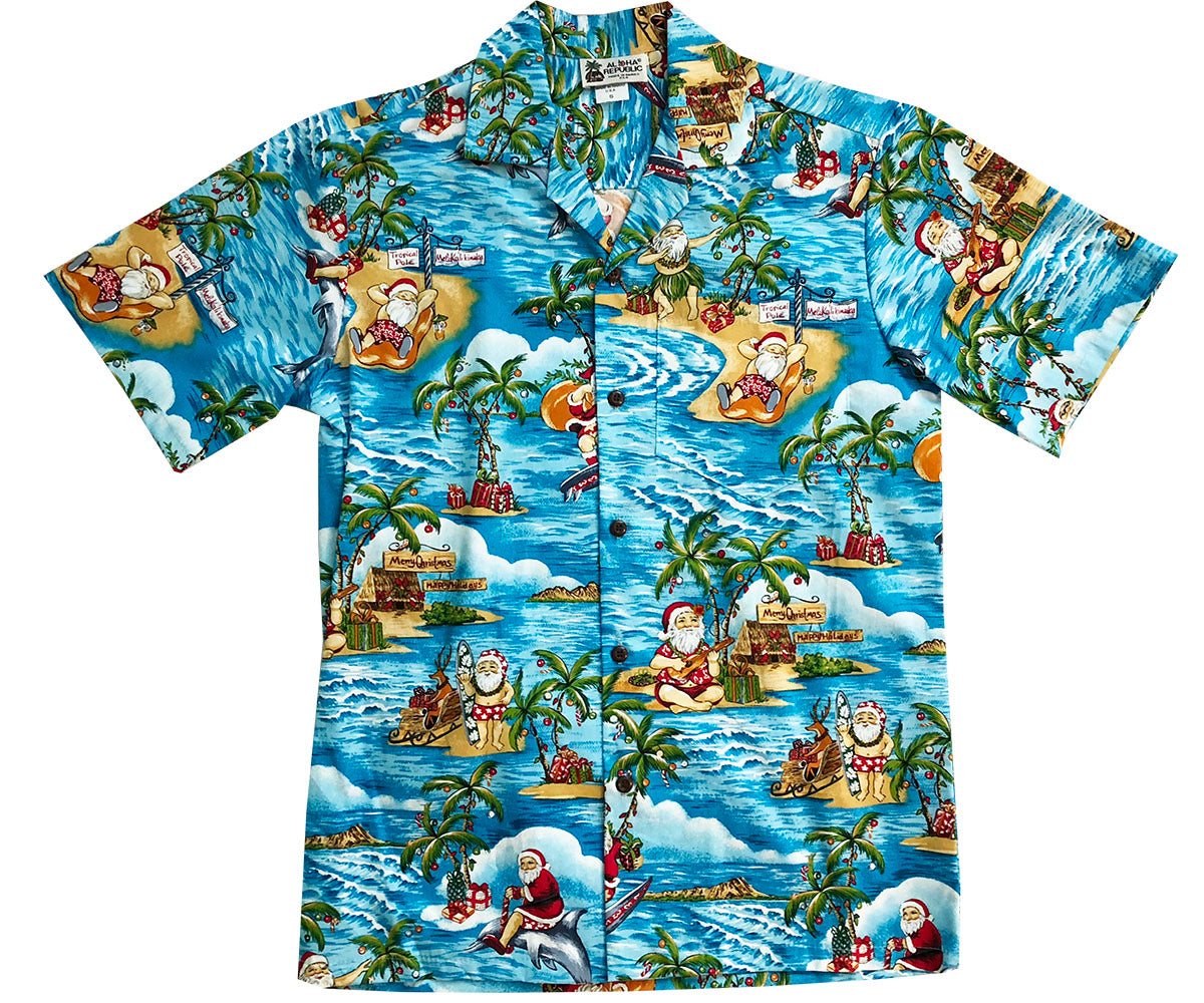Santa's Dream Blue Hawaiian Shirt