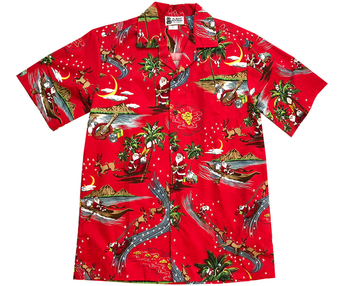 Santa's Paradise Blitz Red Hawaiian Shirt