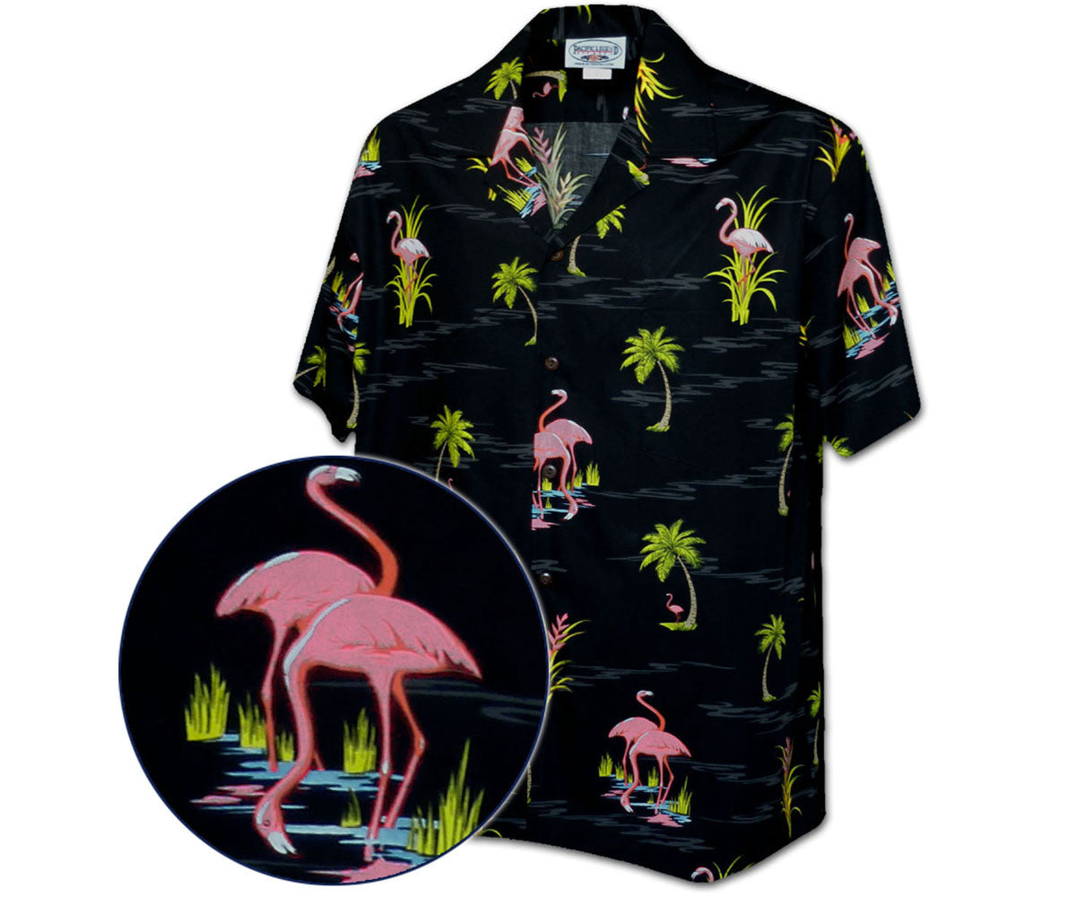 Fearless Flamingo Black Hawaiian Shirt