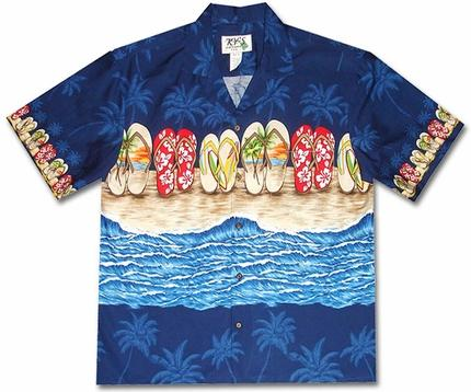 Flip Flop Fiesta Blue Hawaiian Shirt