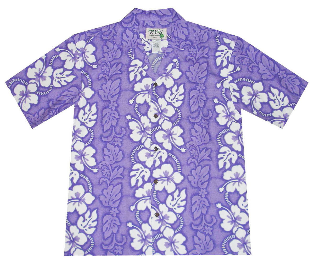 White Hibiscus Panel Purple Hawaiian Shirt
