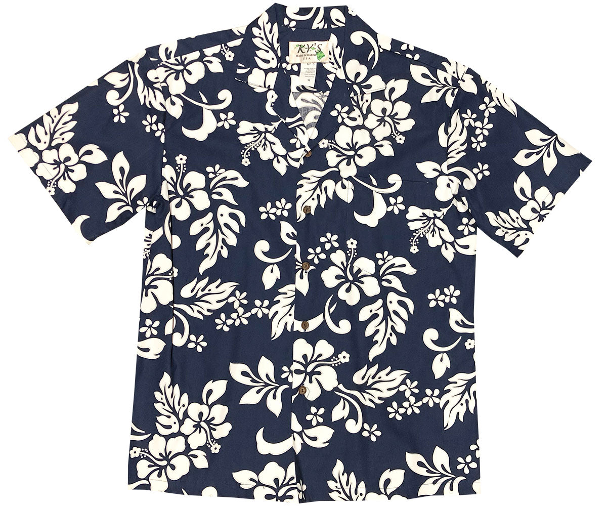 Simple Hibiscus Navy Hawaiian Shirt