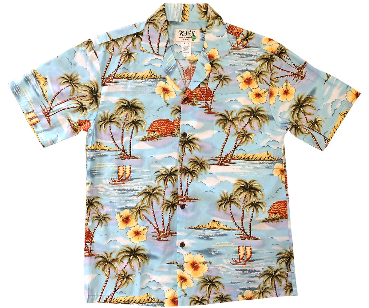 Diamond Head Sailboat Blue Hawaiian Shirt