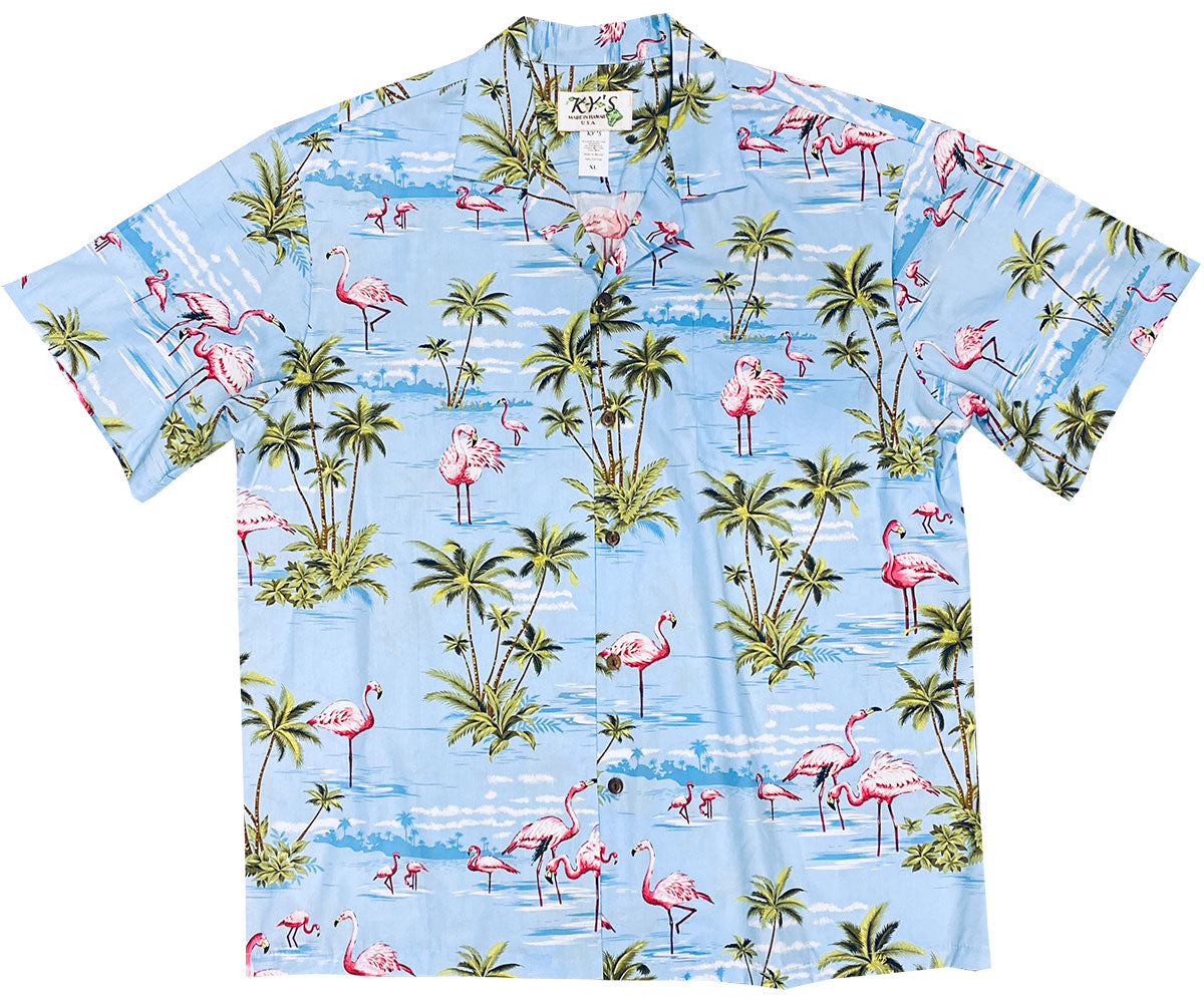 Flamingo Island Blue Hawaiian Shirt