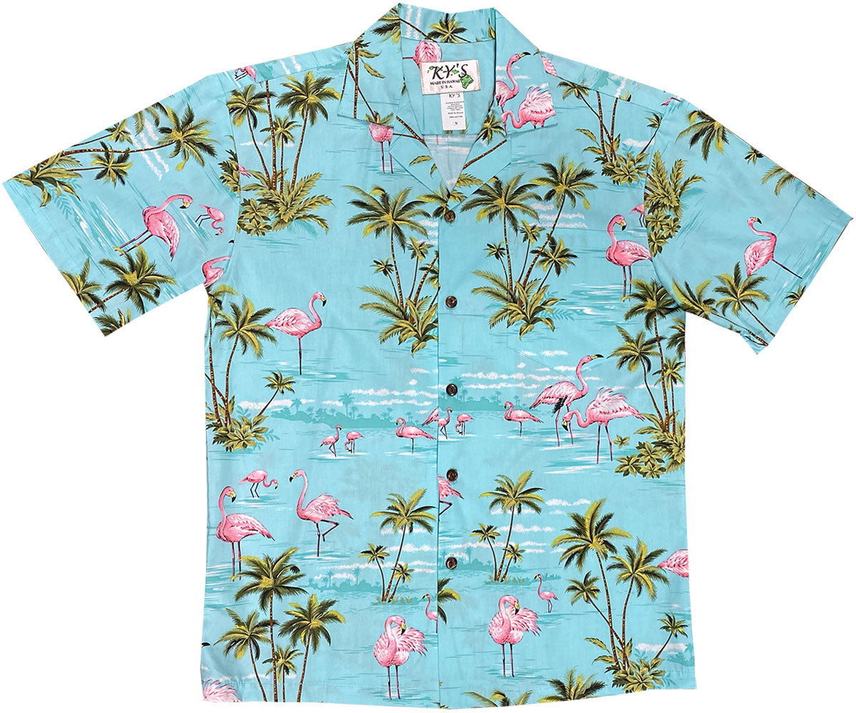 Flamingo Island Green Hawaiian Shirt