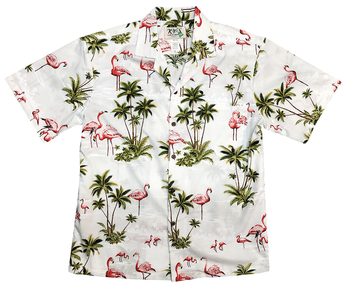 Flamingo Isle White Hawaiian Shirt