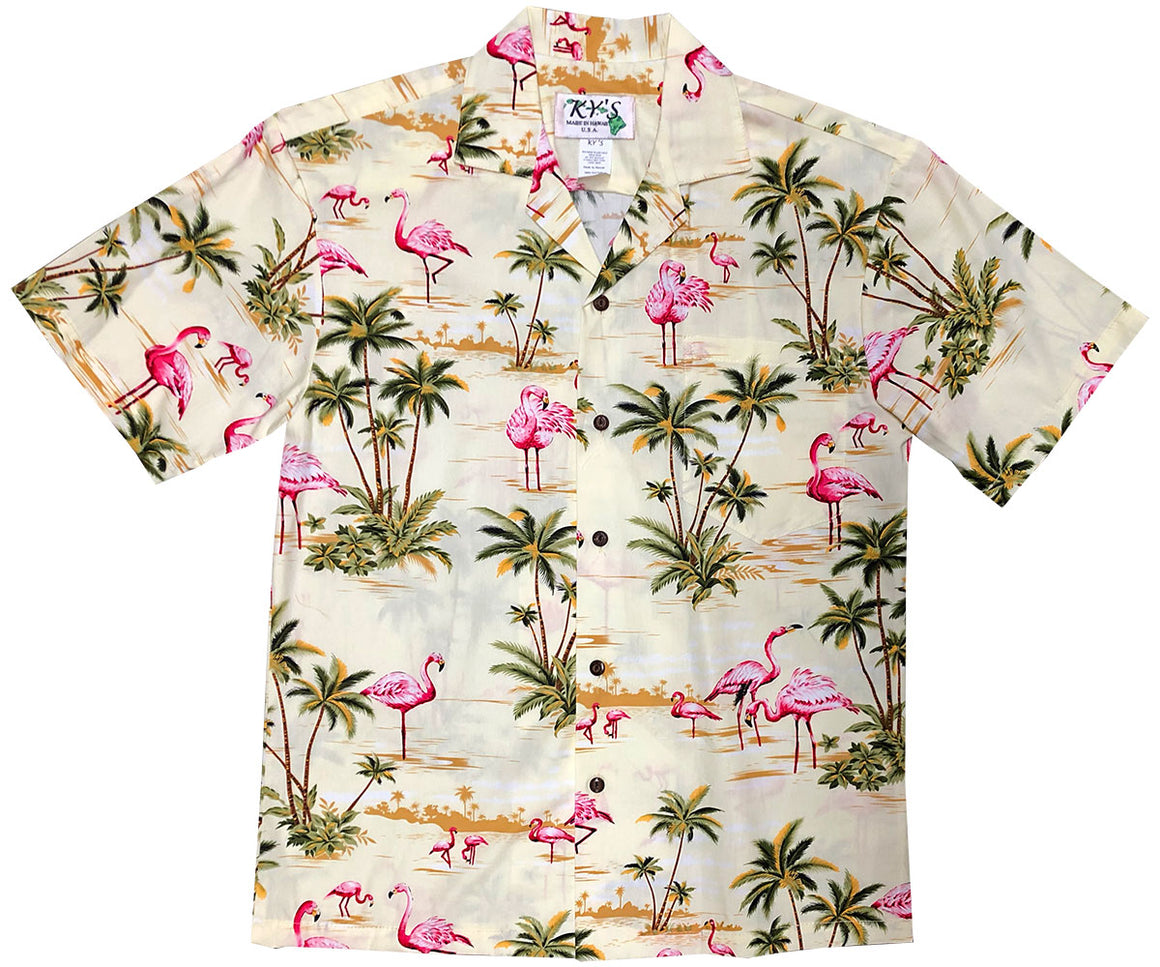 Flamingo Isle Yellow Hawaiian Shirt