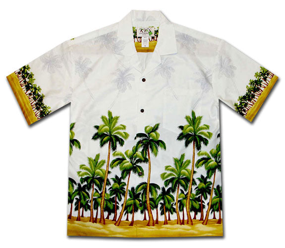 Beach Trees White Hawaiian Shirt