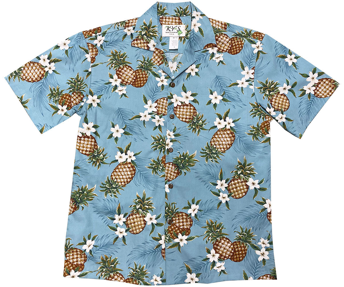 Pineapples Blue Hawaiian Shirt