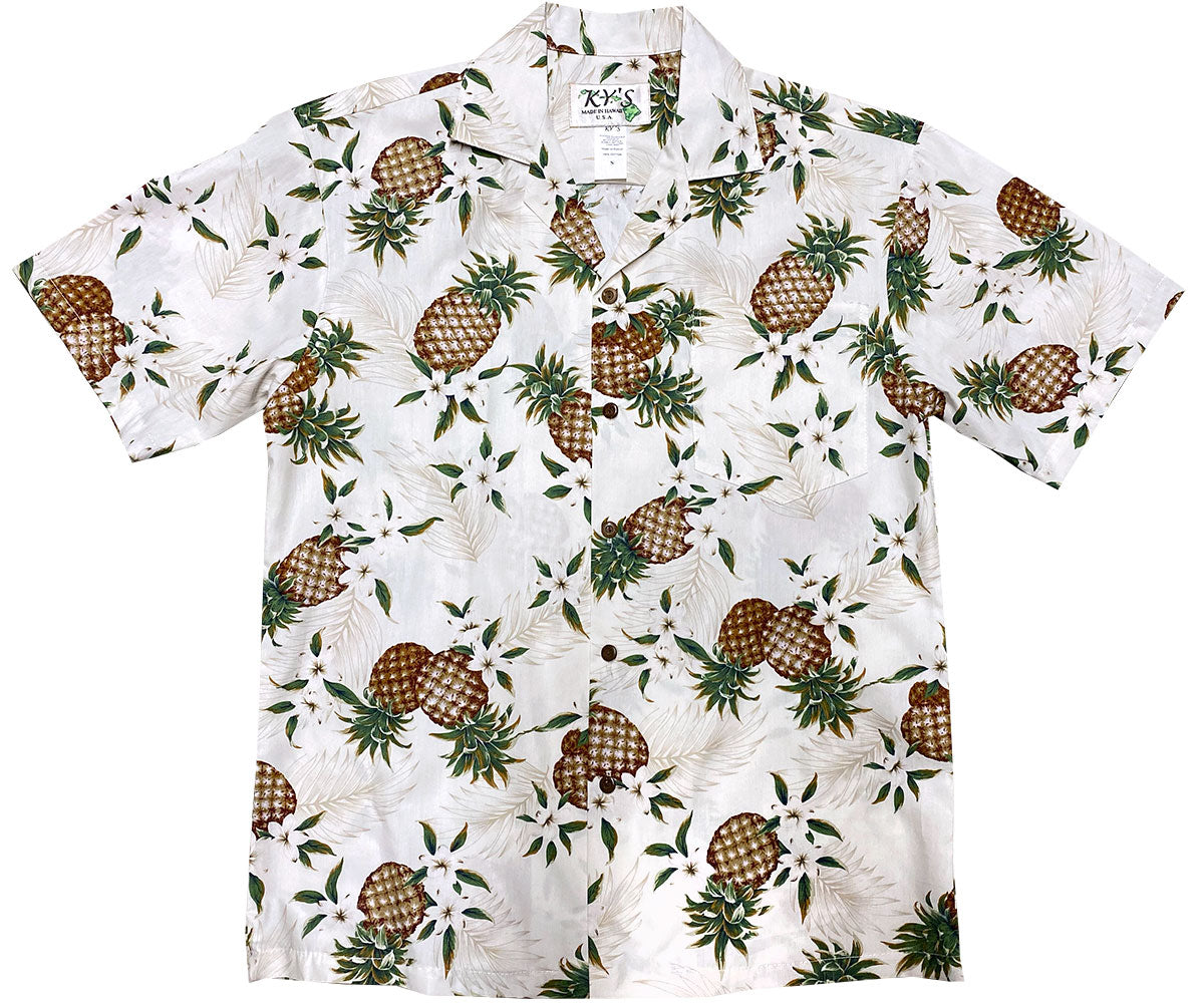 Pineapples White Hawaiian Shirt