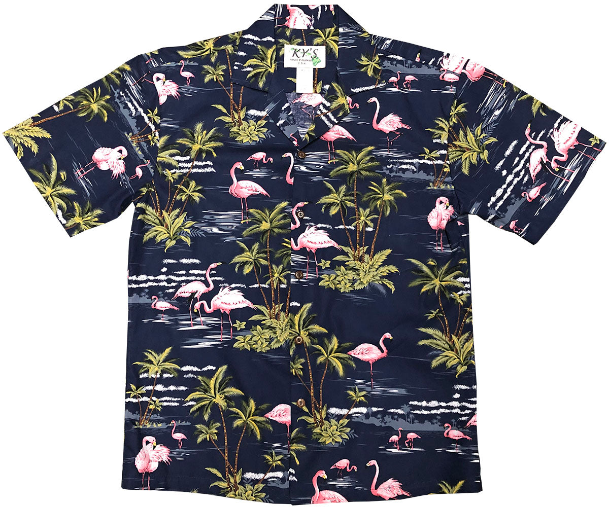 Flamingo Isle Navy Hawaiian Shirt
