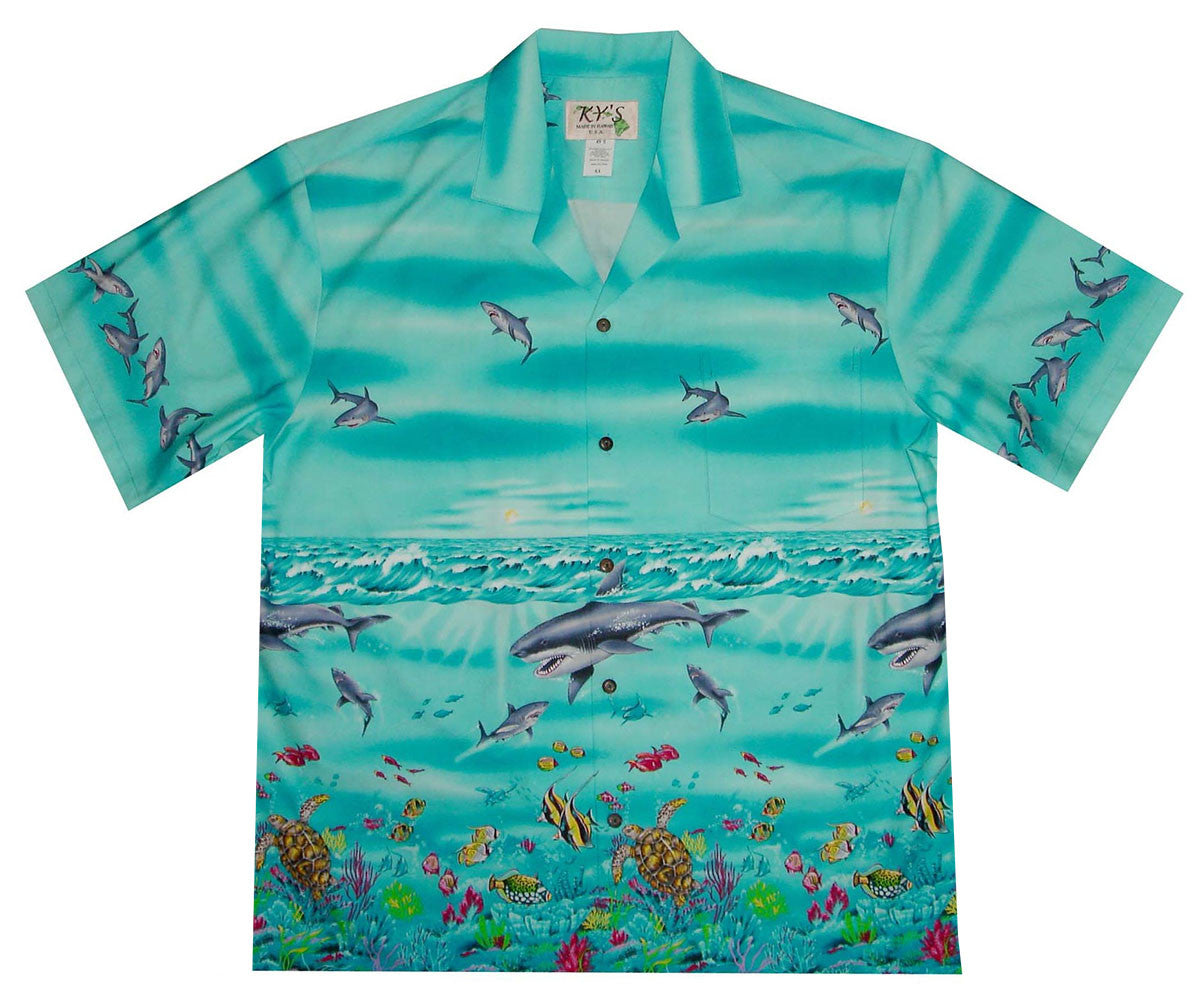 Shark Tornado Blue Hawaiian Shirt