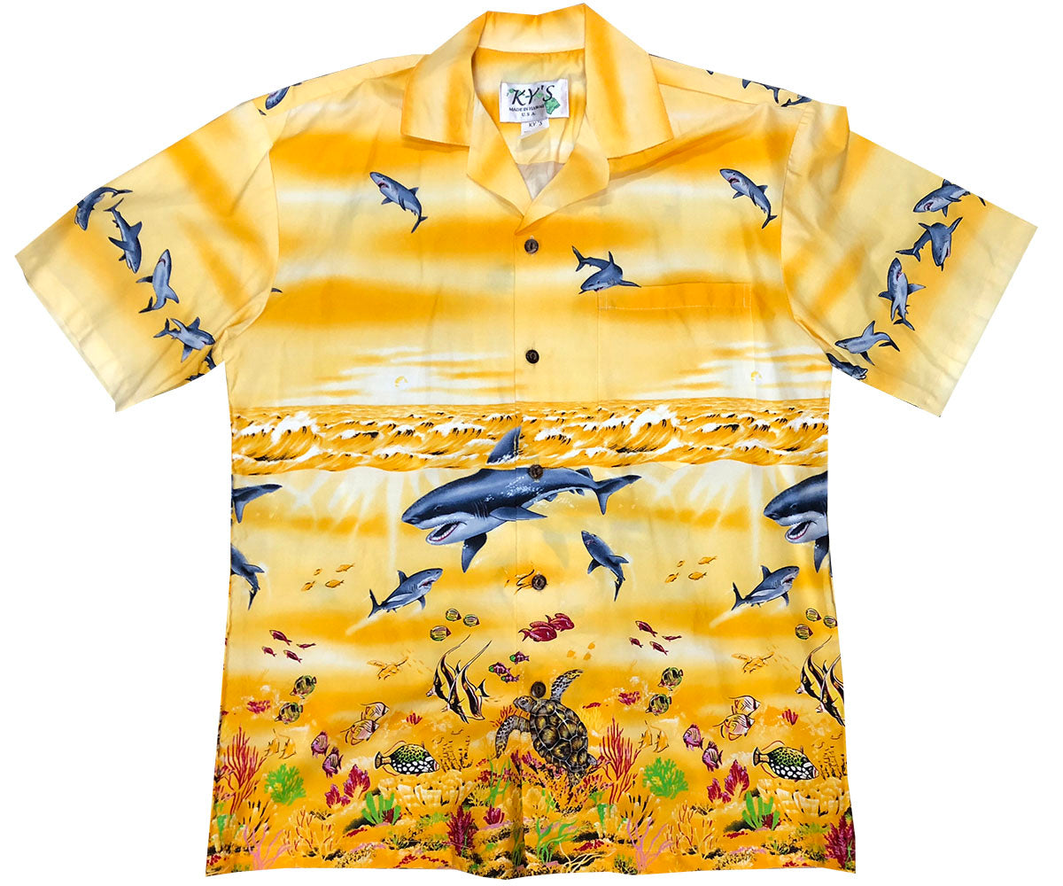 Shark Tornado Yellow Hawaiian Shirt