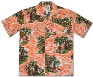 Isle of Tiki Orange Hawaiian Shirt