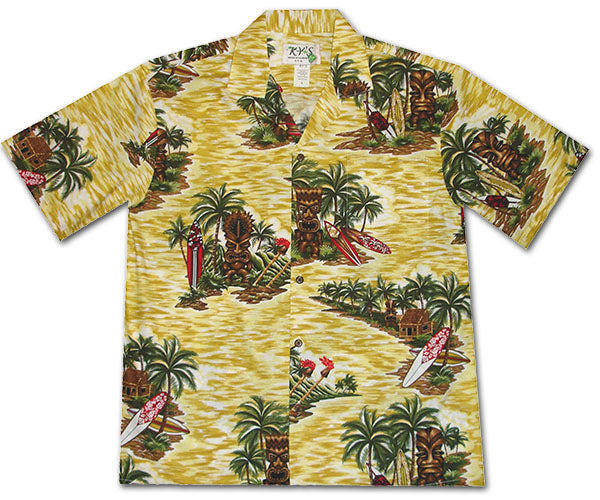 Isle of Tiki Yellow Hawaiian Shirt