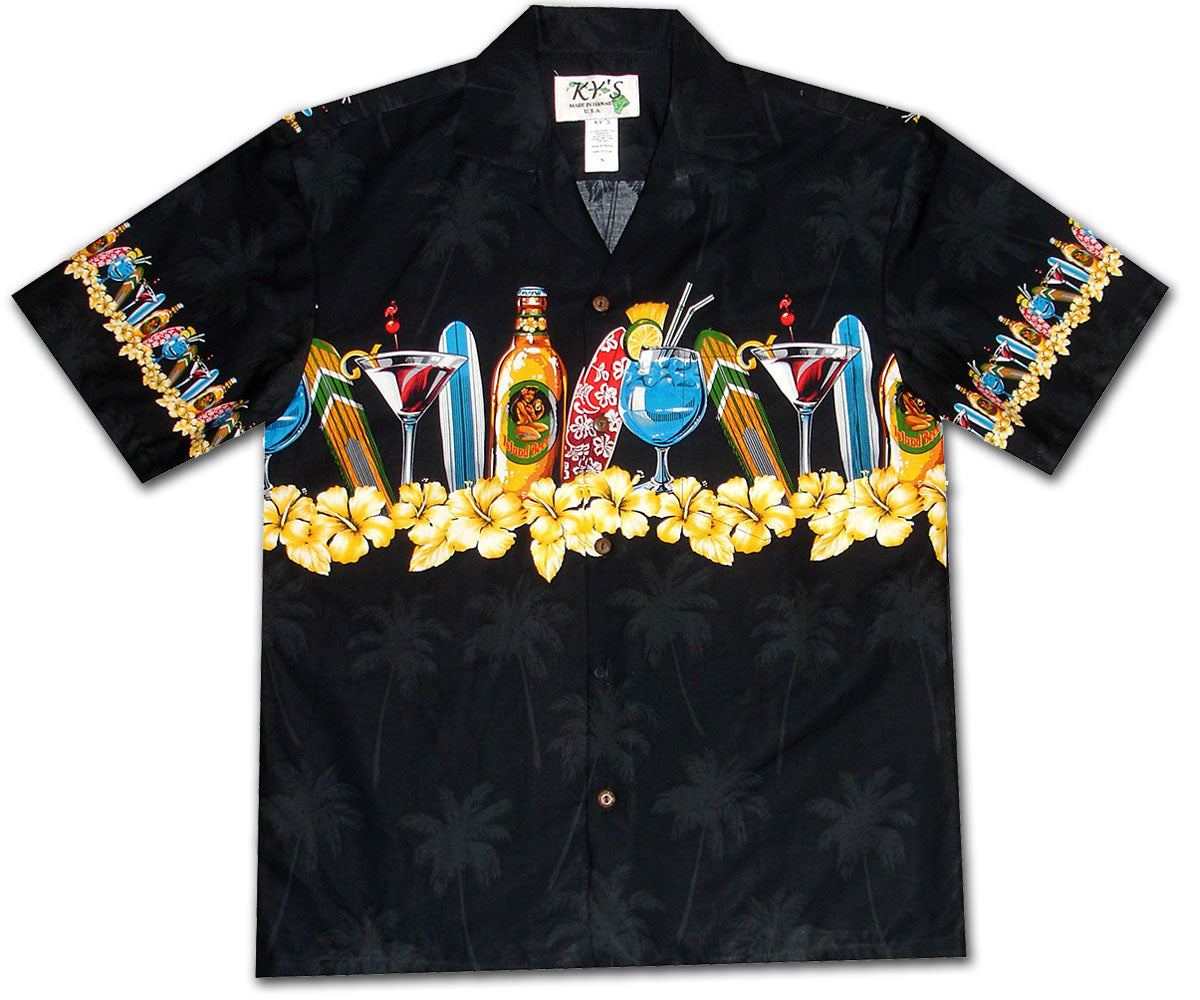 Happy Hour Black Hawaiian Shirt