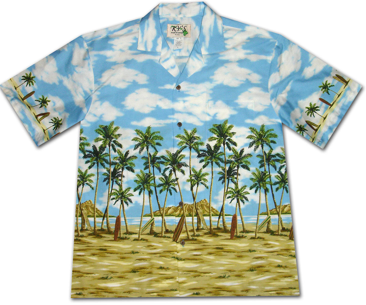 Coconut Tree Beach Blue Hawaiian Shirt