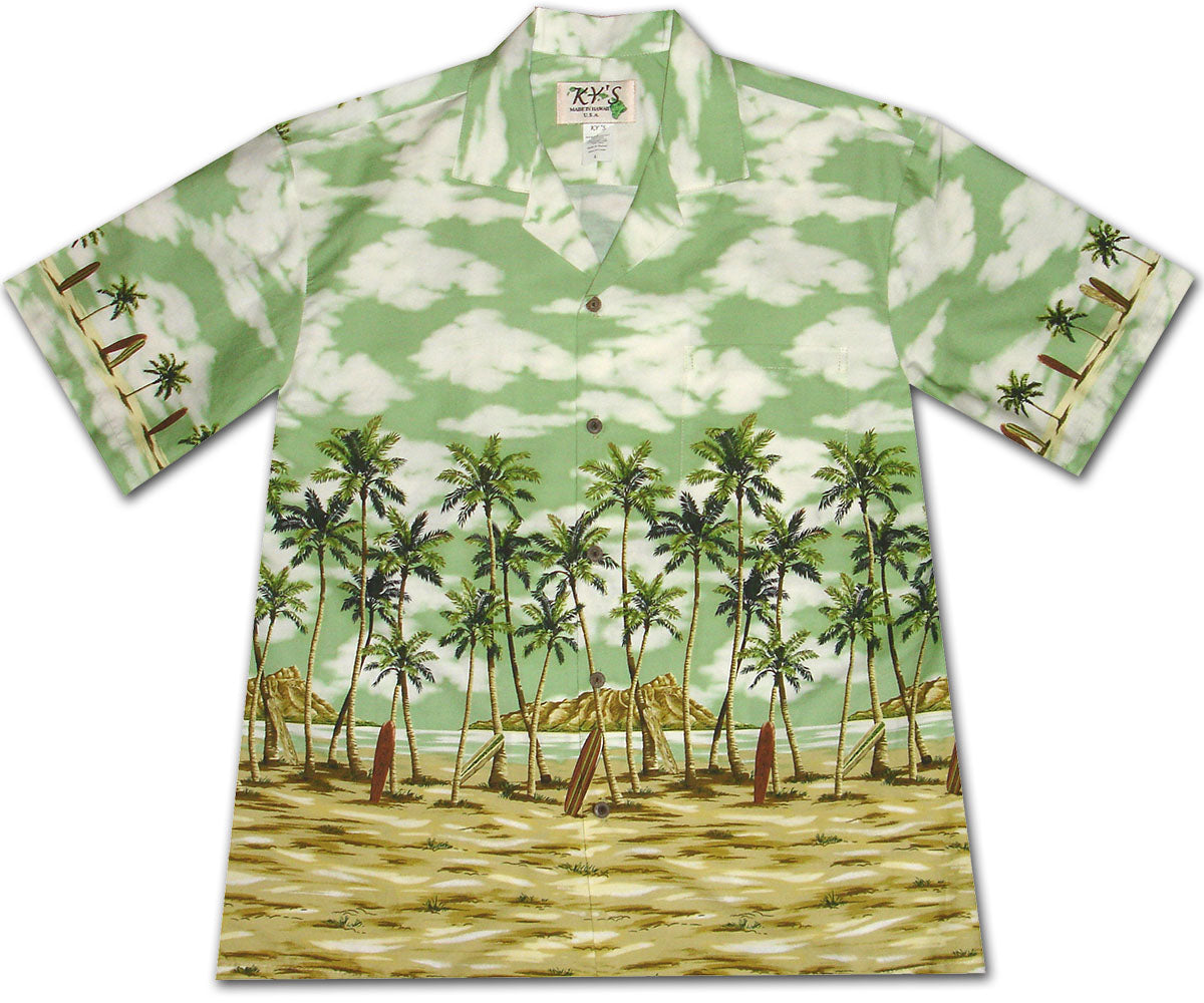 Coconut Tree Beach Green Hawaiian Shirt