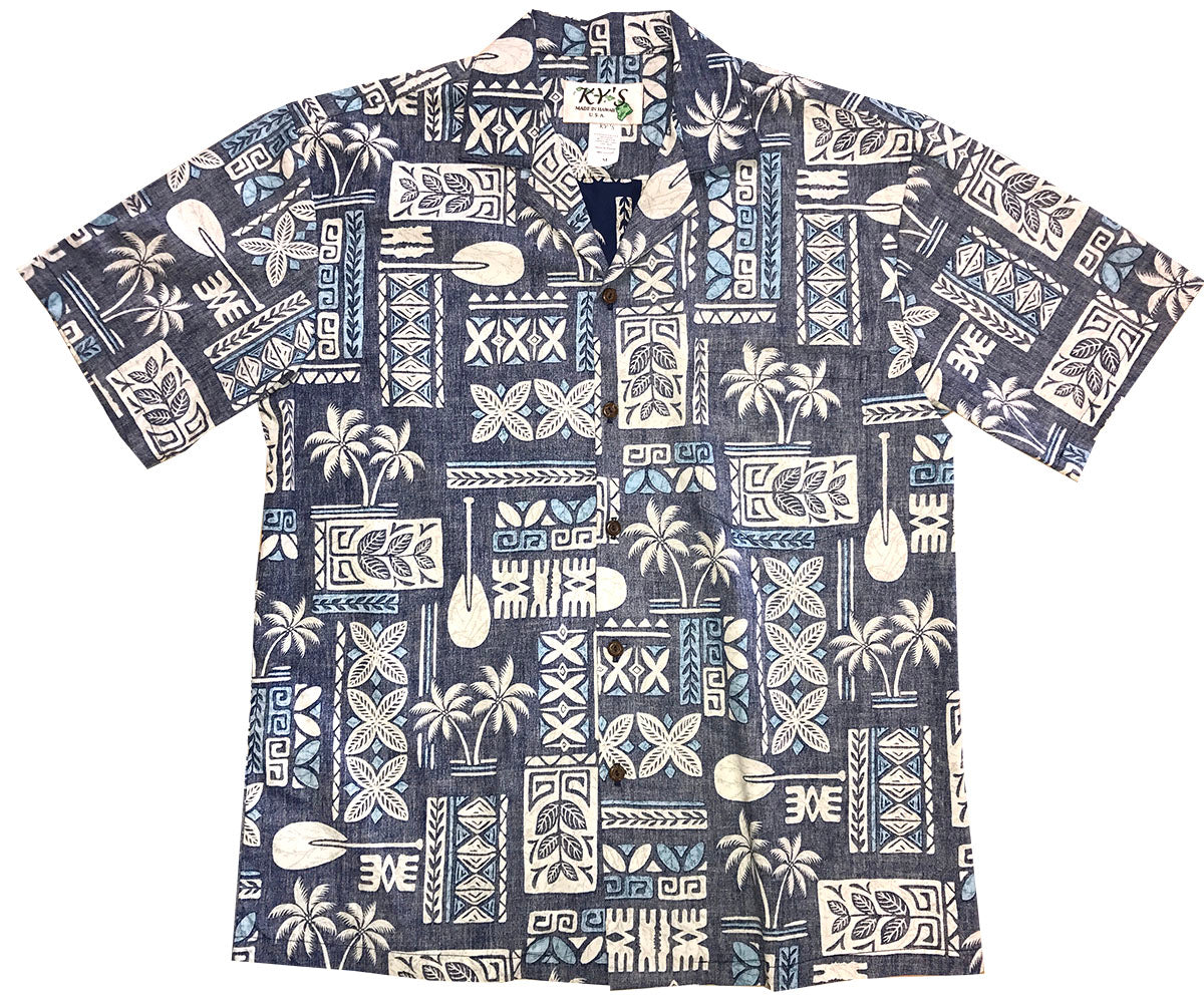 Ancient Glyphs Blue Aloha Shirt