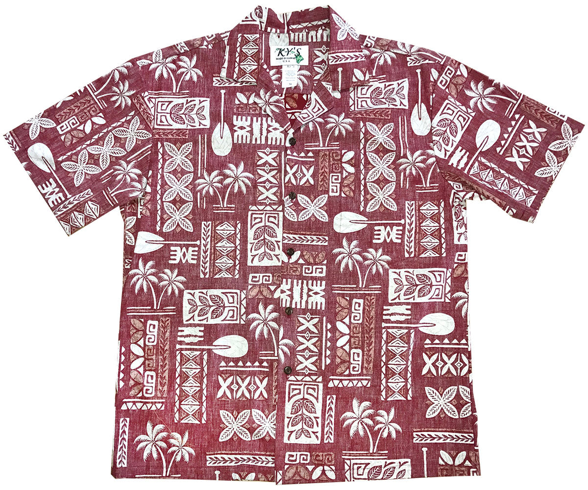 Ancient Glyphs Red Aloha Shirt