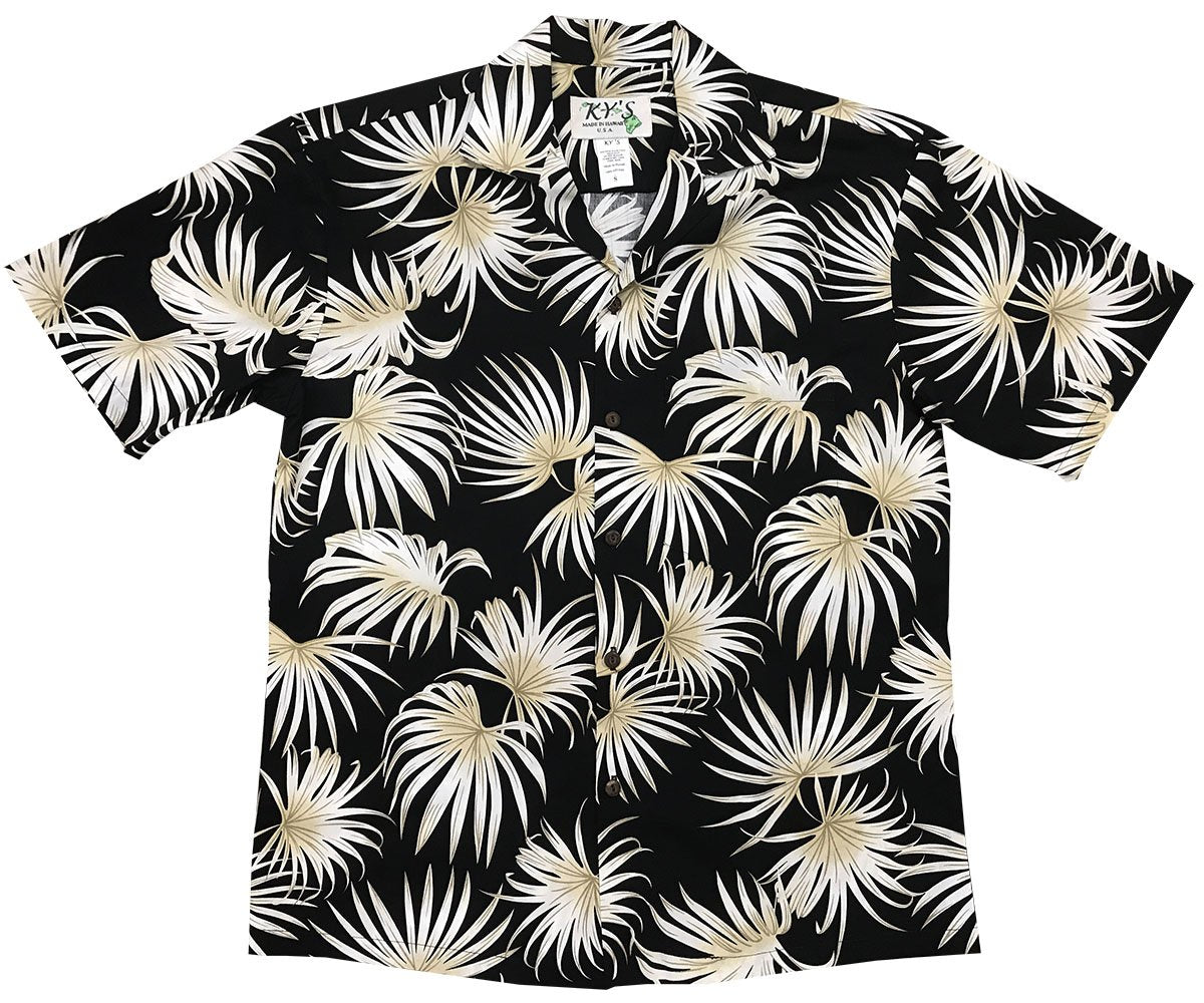Fern Blast Black Hawaiian Shirt