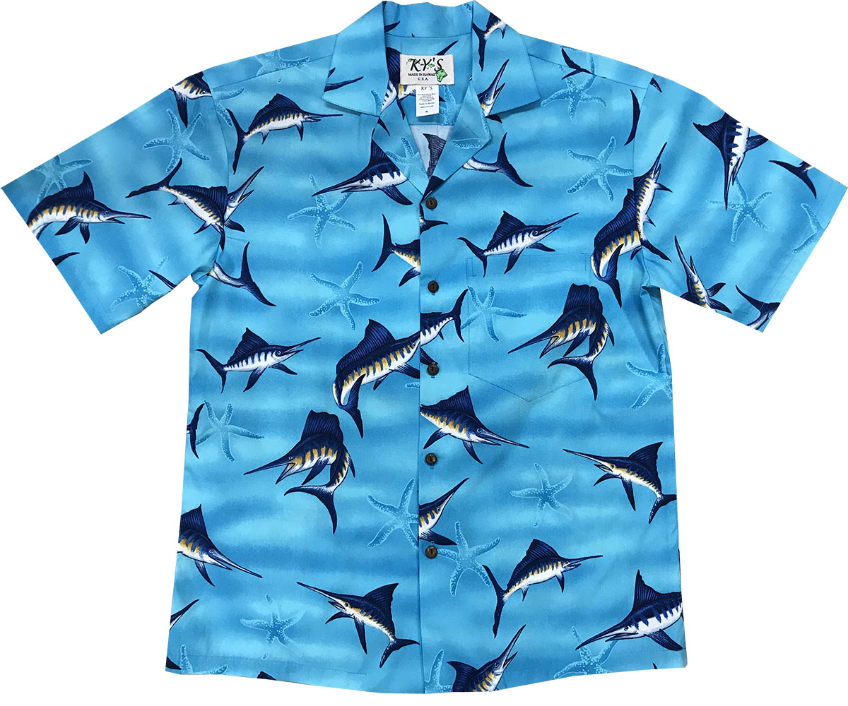 Marlin Madness Blue Hawaiian Shirt
