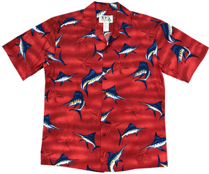Marlin Madness Red Hawaiian Shirt