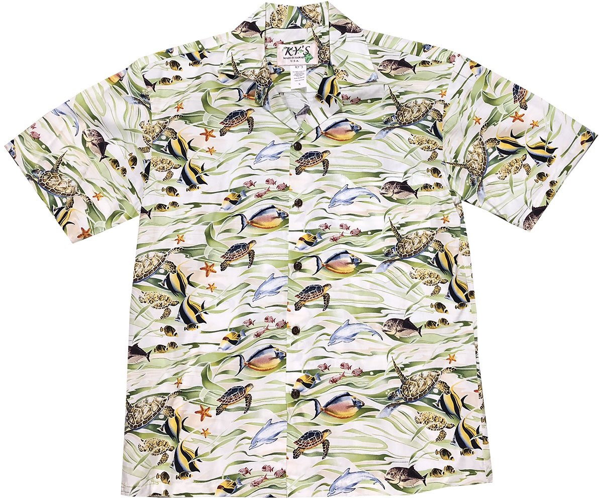 Tropicana Sea Life Green Hawaiian Shirt