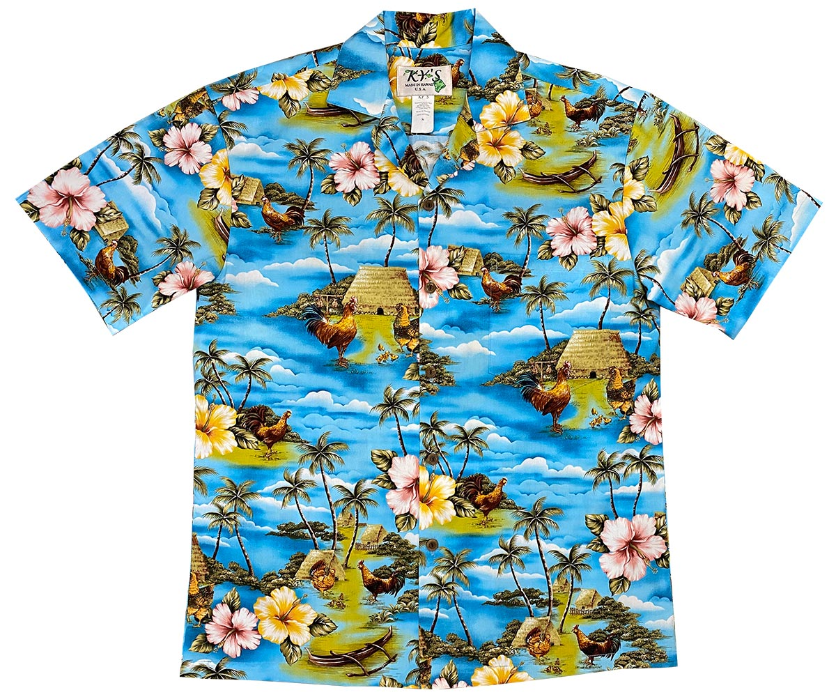 Village Chickens Blue Hawaiian Shirt