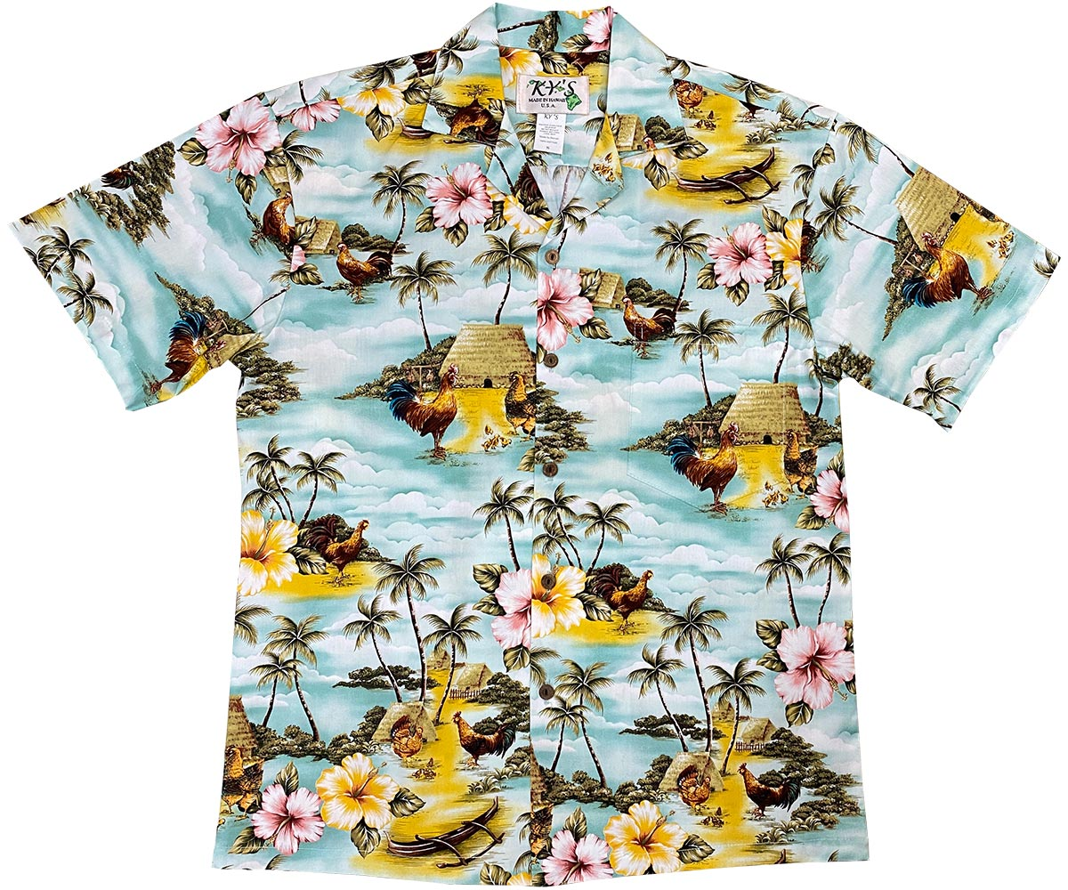 Village Chickens Green Hawaiian Shirt