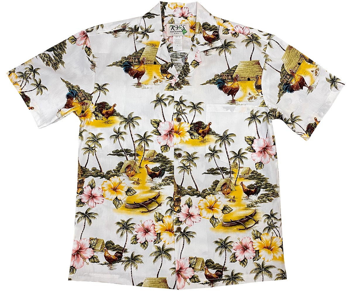 Village Chickens White Hawaiian Shirt