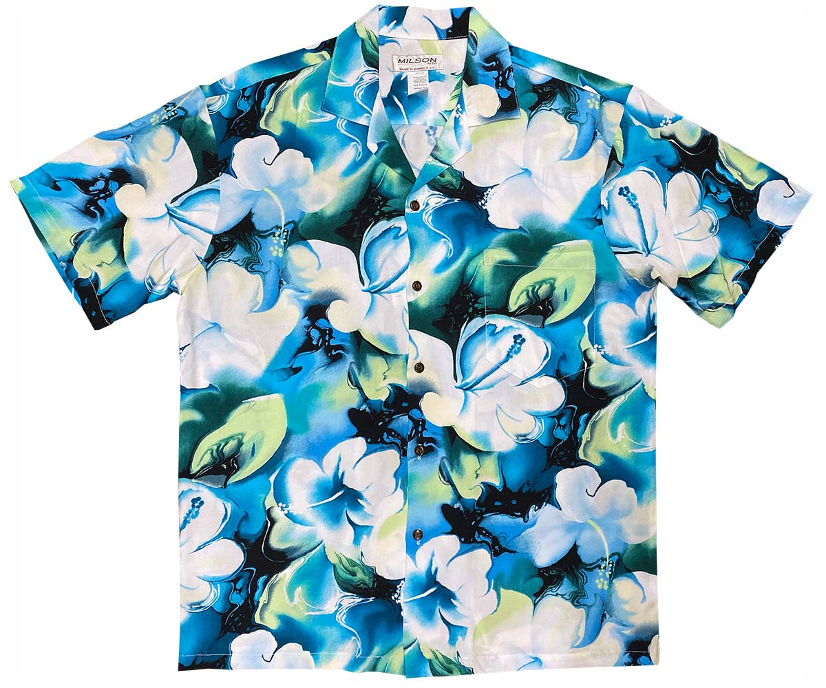 Watercolor Hibiscus Blue Hawaiian Shirt