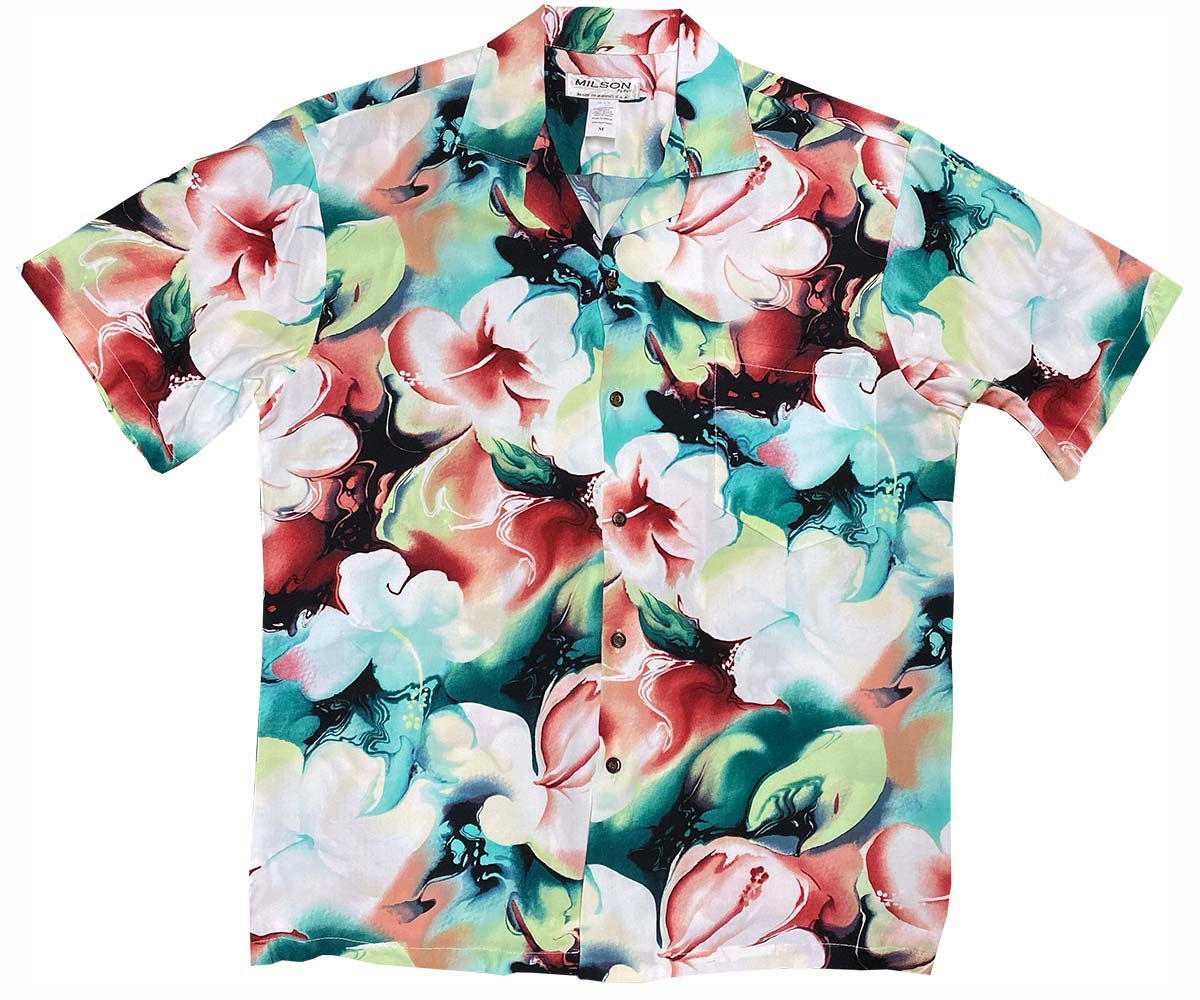 Watercolor Hibiscus Red Hawaiian Shirt
