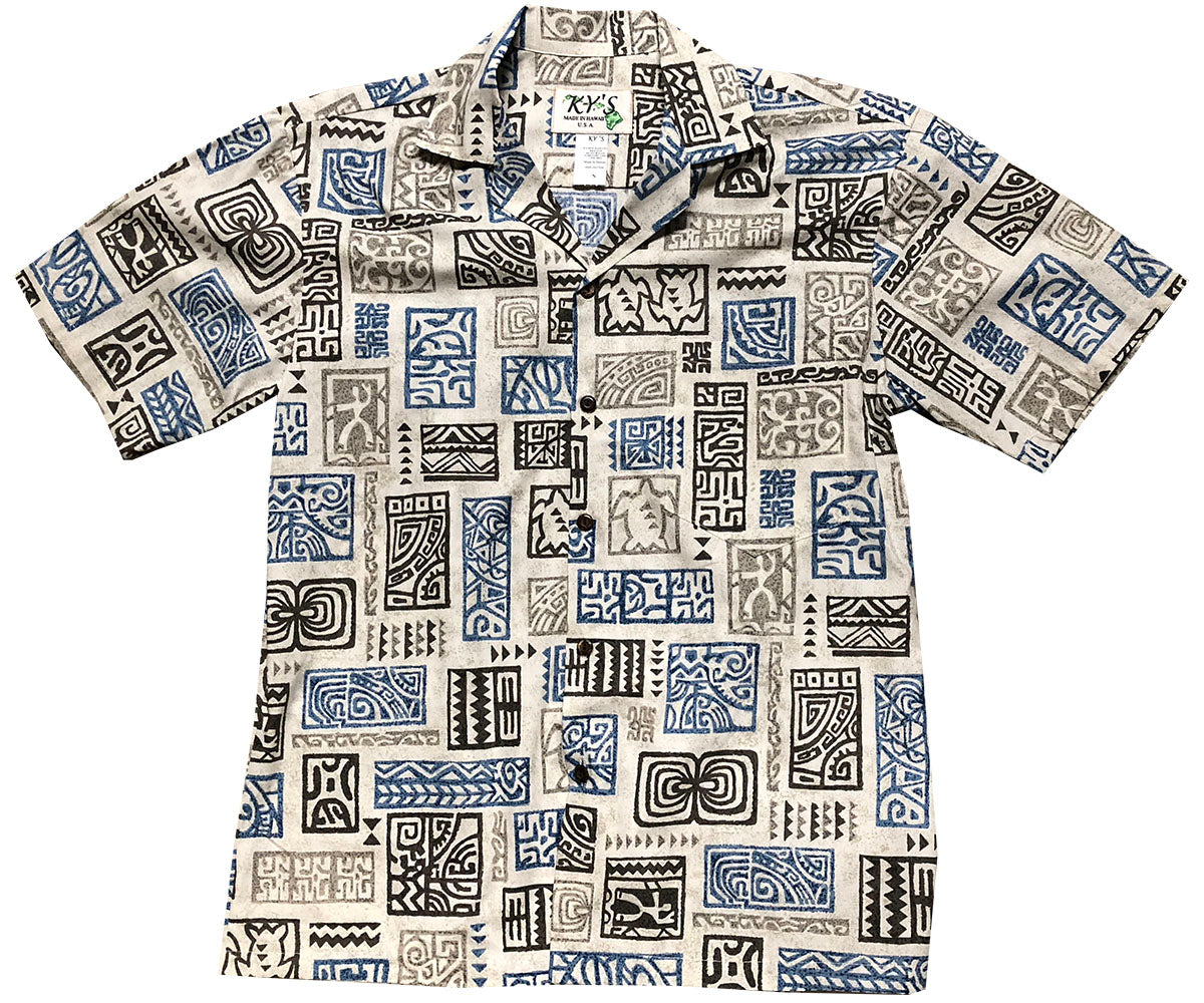 Story Glyphs Gray Hawaiian Shirt