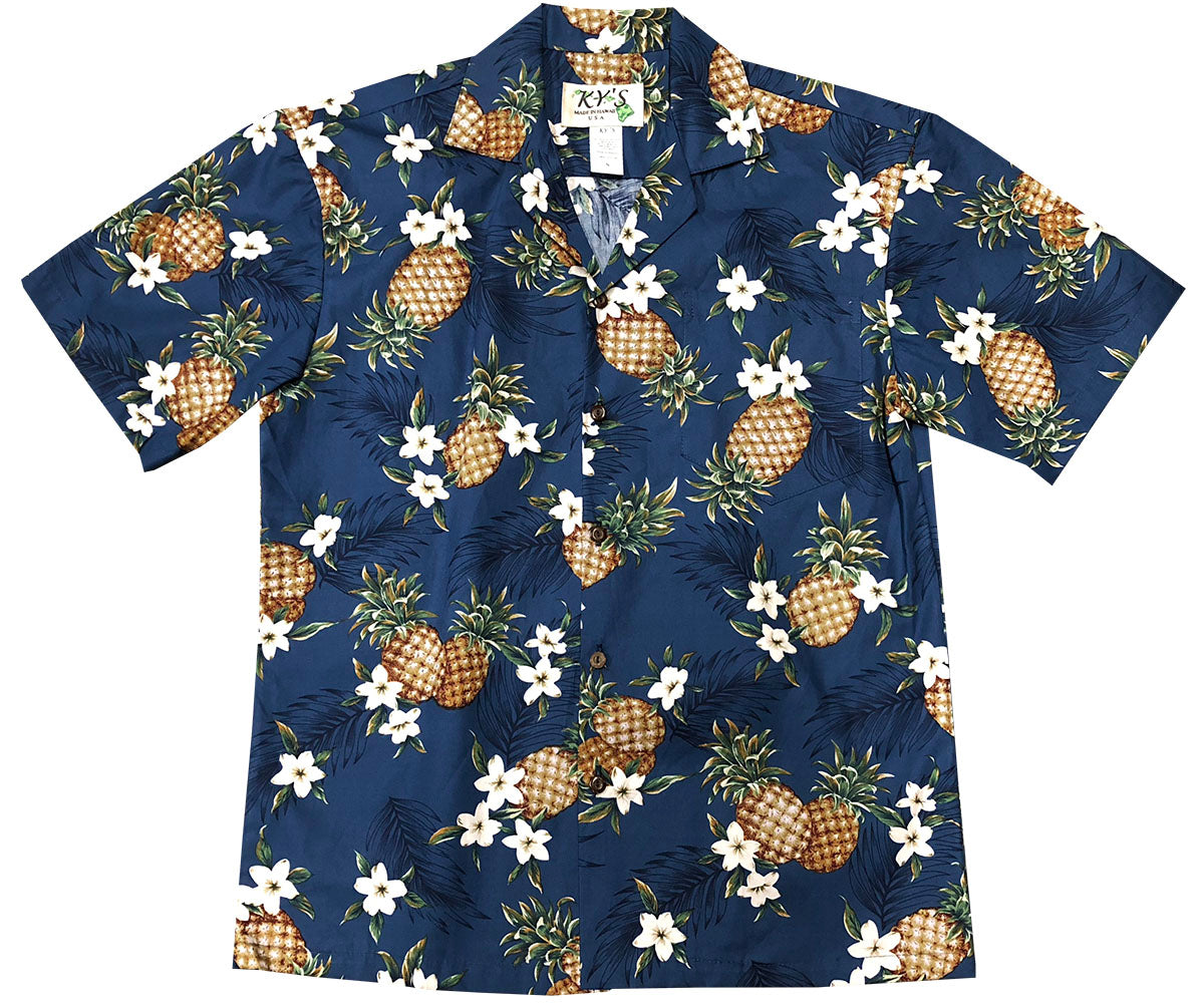 Pineapples Navy Hawaiian Shirt